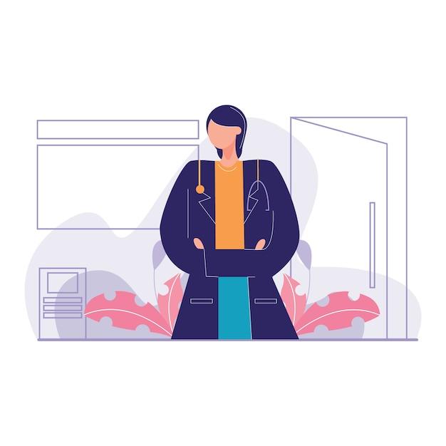 Zekere arts office vector illustratie Premium Vector