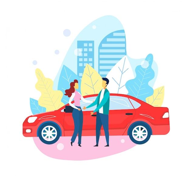 Zelf rijden rode auto neemt man en meisje op de vergadering Premium Vector