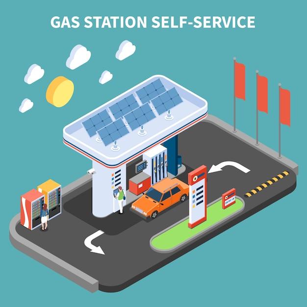 Zelfbediening bij benzinestation met betalingsterminal en automaat isometrische vectorillustratie Gratis Vector