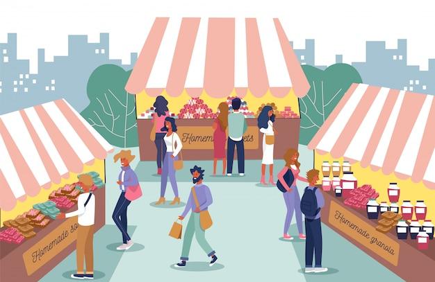Zelfgemaakte food fair en mensen tekens cartoon Premium Vector