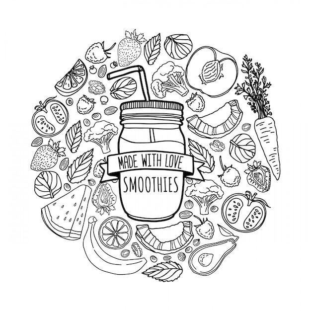 Zelfgemaakte smoothie design met silhouet smoothie pot en en ingrediënten decoratie met fruit, groenten en kruiden in lijnstijl Premium Vector