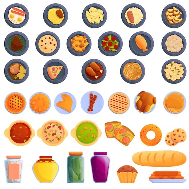 Zelfgemaakte voedsel iconen set, cartoon stijl Premium Vector