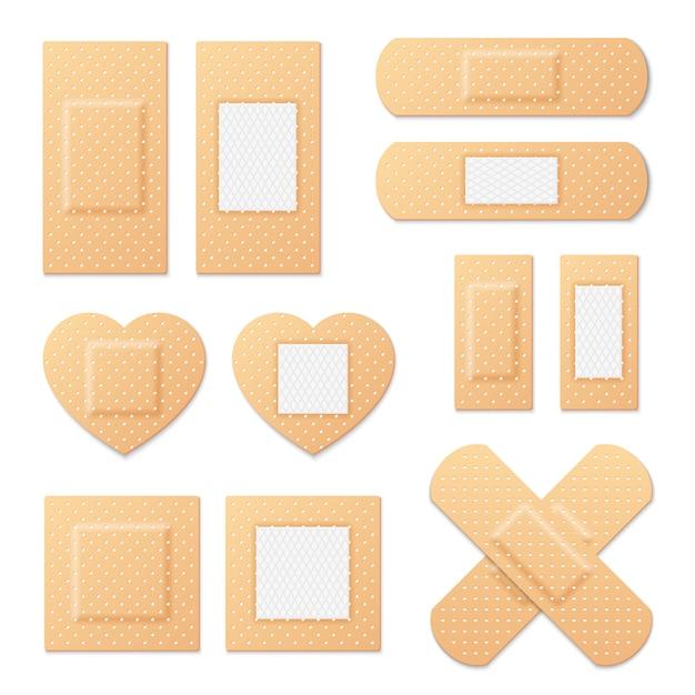 Zelfklevende pleister elastische medische pleisters Premium Vector