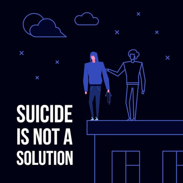 Zelfmoord geestesziekte stoornis preventie concept Premium Vector