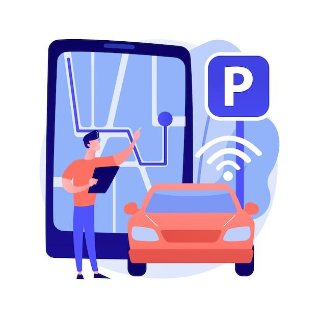 Zelfparkeren auto systeem abstracte concept illustratie Gratis Vector
