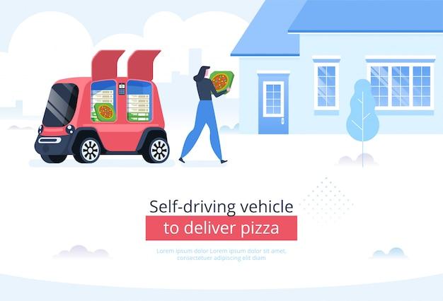 Zelfrijdend voertuig om pizza te bezorgen Premium Vector