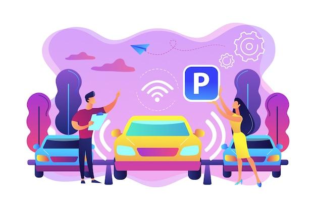 Zelfrijdende auto met sensoren automatisch geparkeerd op parkeerplaats. zelfparkerend autosysteem, zelfparkerend voertuig, slim parkeertechnologieconcept. heldere levendige violet geïsoleerde illustratie Gratis Vector
