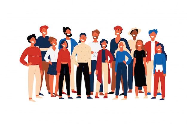 Zelfverzekerde mensen, studentenverenigingen, vrolijke vrijwilligers staan samen, lachende jonge mannen. gelukkig activisten, multi-etnische groep concept cartoon Premium Vector