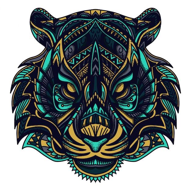 Zentangle tijger vectorillustratie Premium Vector