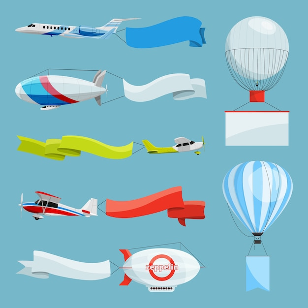 Zeppelins en vliegtuigen met lege banners voor reclameberichten. vectorillustratiesvliegtuig en zeppelin met reclame met plaats voor uw tekst Premium Vector