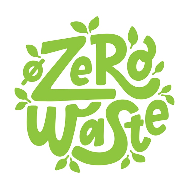 Zero waste. belettering Premium Vector