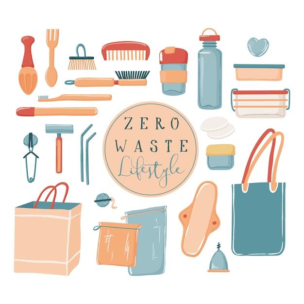 Zero waste, eco lifestyle set van objecten, canvas tas waterfles reismok toiletartikelen containers razor rietjes Premium Vector