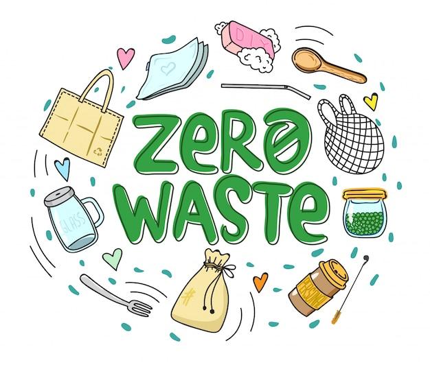 Zero waste in een ronde compositie Premium Vector