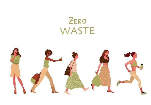 Zero waste of ecologie concept hand getrokken illustraties op een witte achtergrond. Premium Vector