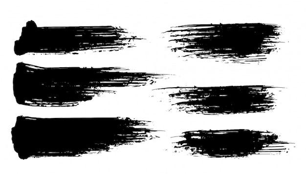 Zes abstracte geplaatste grunge penseelstreekbanners Gratis Vector