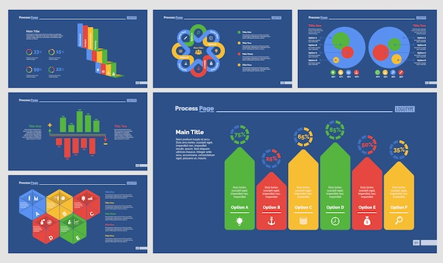 Zes accounting slide templates set Gratis Vector