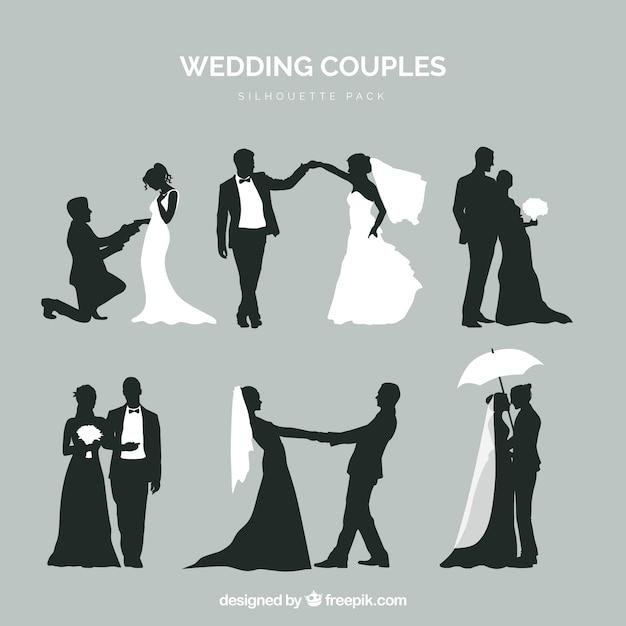 Zes bruidsparen in silhouet Gratis Vector