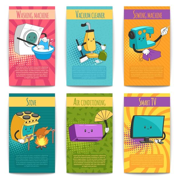 Zes gekleurde grappige posters op binnenlands thema met huishoudelijke apparaten in platte cartoonstijl Gratis Vector