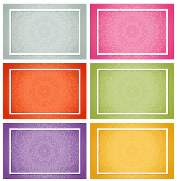 Zes ontwerpen met mandala-patronen Gratis Vector