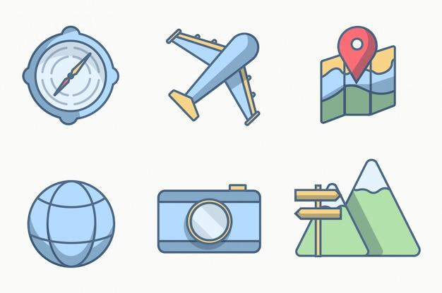Zes pictogram of object reizen met stijllijnen kleur Premium Vector