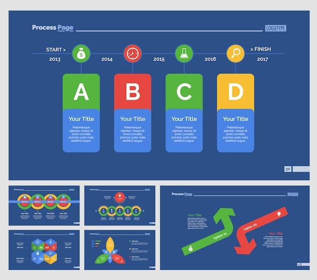 Zes recruitment slide templates set Premium Vector