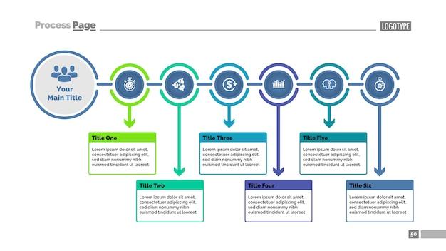 Zes stappen dia-sjabloon procesgrafiek. bedrijfsgegevens. stroomdiagram, diagram Gratis Vector
