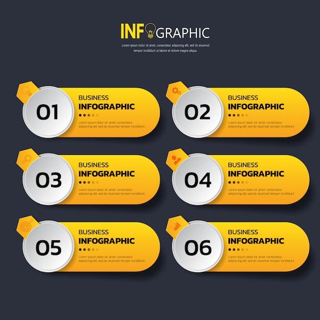 Zes stappen Infographics-sjabloon Premium Vector