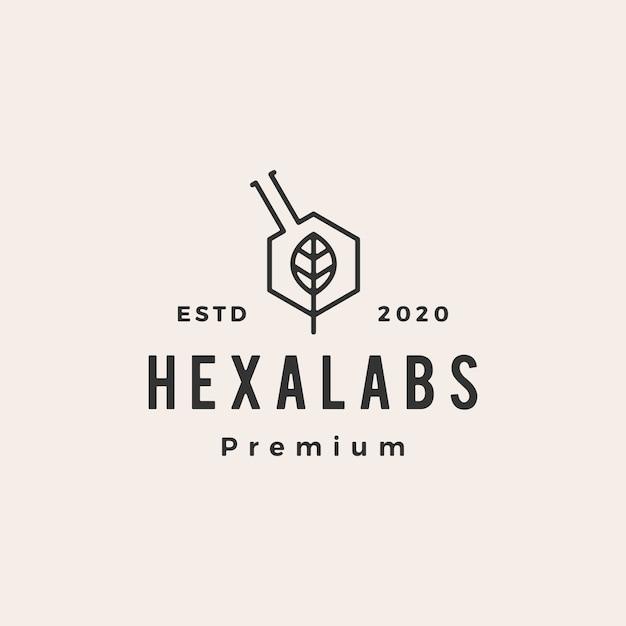 Zeshoek blad lab labs hipster vintage logo pictogram illustratie Premium Vector