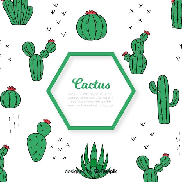 Zeshoek cactus achtergrond Gratis Vector