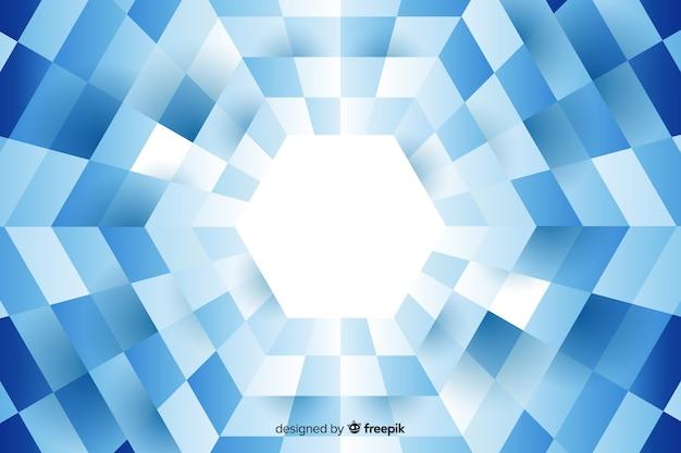Zeshoek gevormd door opgesteld rechthoeken achtergrond Gratis Vector
