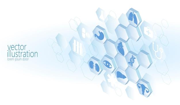Zeshoek medische flat icon set, ambulance innovatie geneeskunde centrum Premium Vector