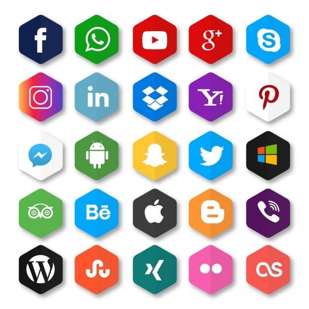 Zeshoek social networking pictogram knop Gratis Vector