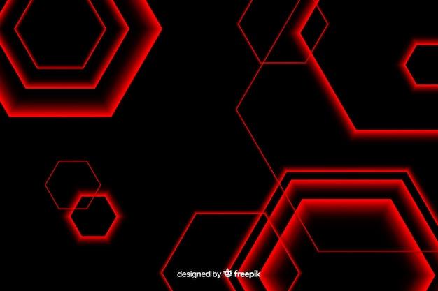 Zeshoekig ontwerp in rood licht lijnen Gratis Vector