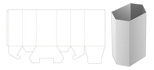 Zeshoekige briefpapier hoge doos gestanst sjabloon Premium Vector