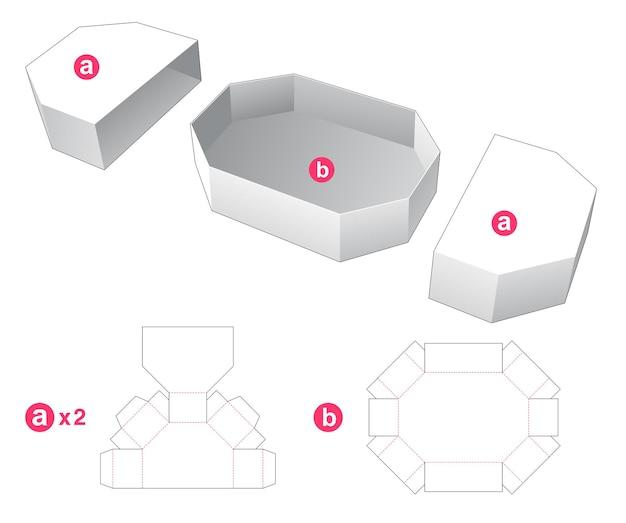 Zeshoekige doos met gestanste sjabloon voor 2 deksels Premium Vector