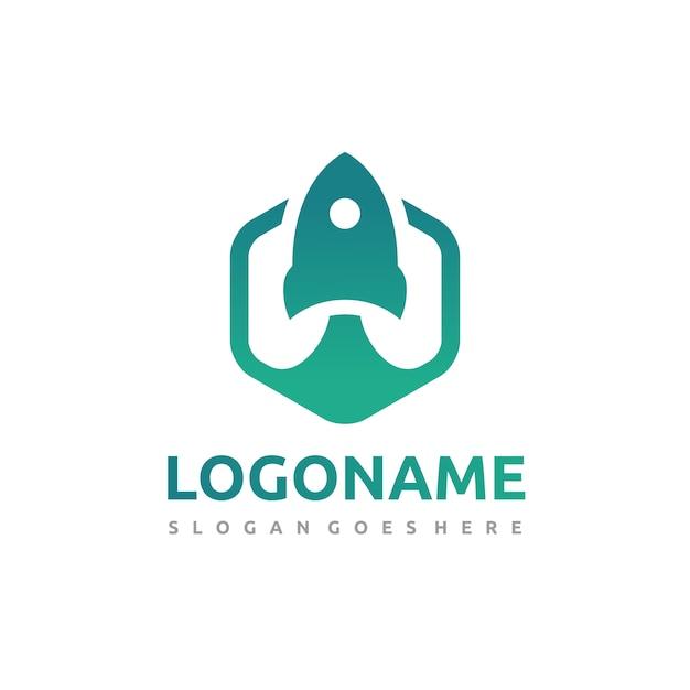 Zeshoekige rocket-logo Premium Vector