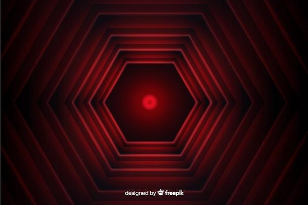 Zeshoekige rode lijnen geometrische achtergrond Gratis Vector