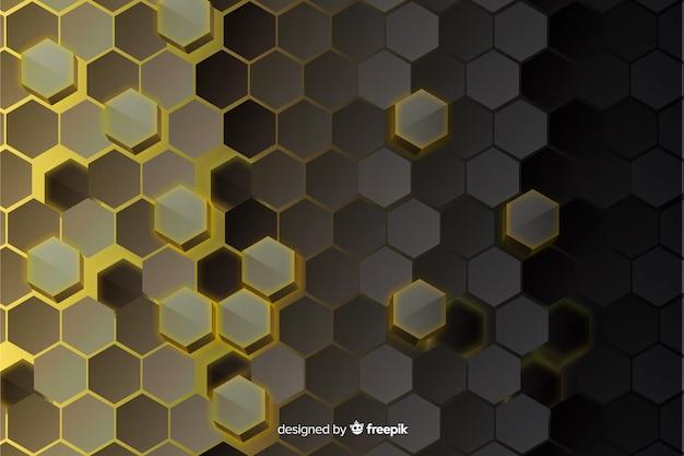 Zeshoekige technologie abstract glas achtergrond Gratis Vector