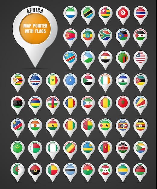 Zet de aanwijzer op de kaart met de vlag van de landen van afrika en hun namen. Premium Vector