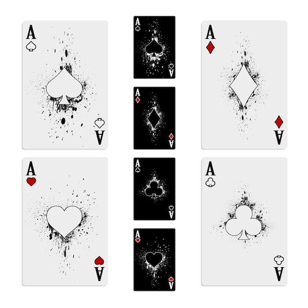 Zet een kaartspel van vier azen op Premium Vector