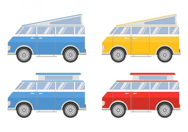 Zet minibusjes op reis. Premium Vector