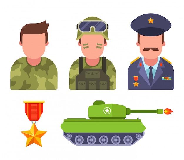 Zet soldaten in camouflage. leger generaal. militaire uitrusting. vlakke afbeelding. Premium Vector