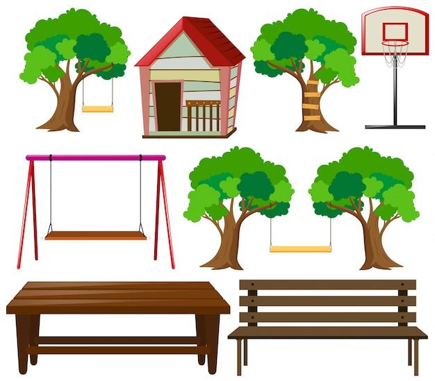 Zetels en dingen in de tuin Gratis Vector