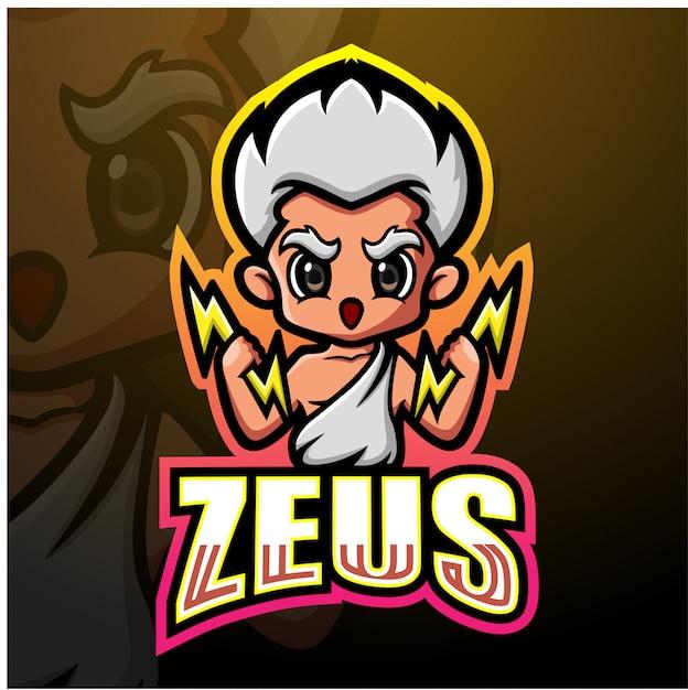 Zeus mascotte esport illustratie Premium Vector