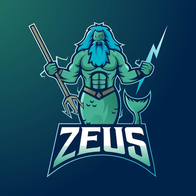 Zeus mascotte logo ontwerp vector met moderne illustratie conceptstijl voor badge Premium Vector