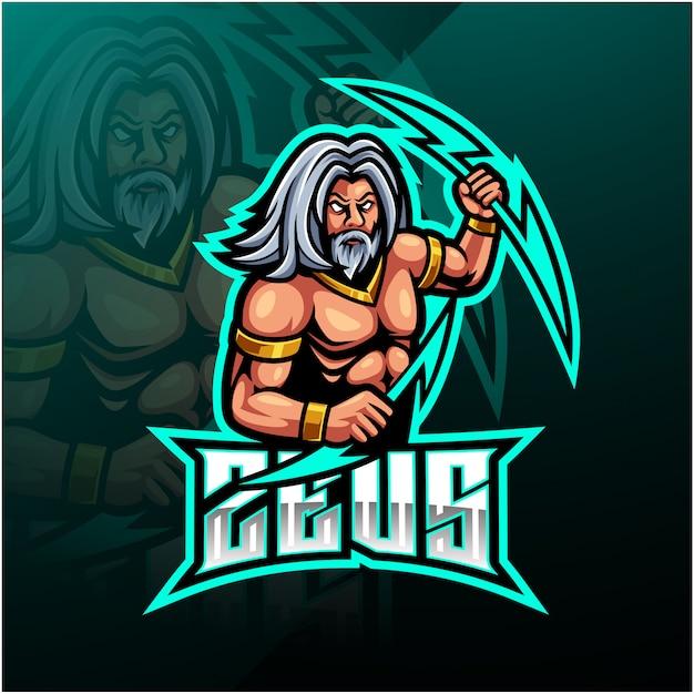 Zeus sport mascotte logo ontwerp Premium Vector