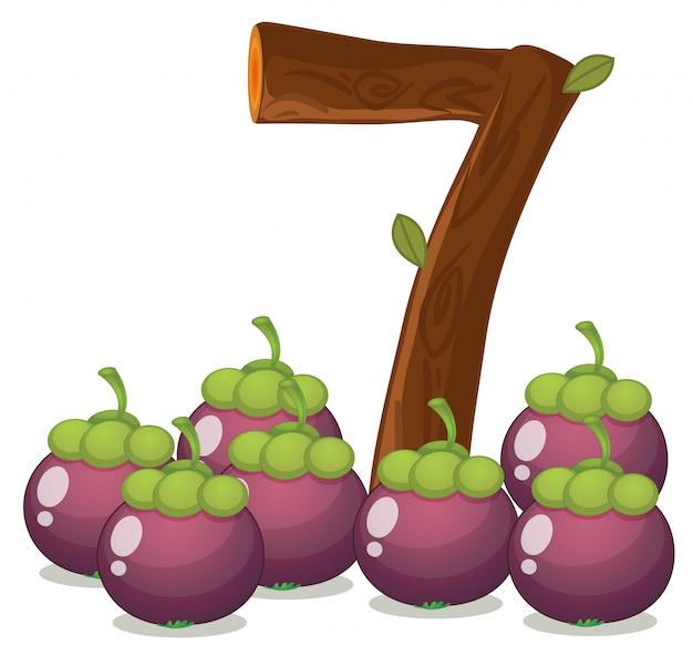 Zeven aubergines Gratis Vector