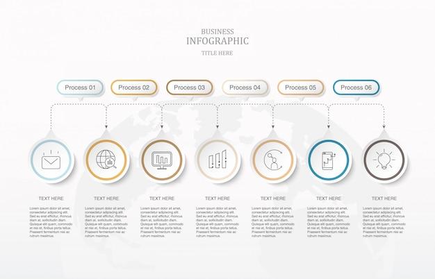 Zeven elementencirkels en pictogrammen infographics. Premium Vector