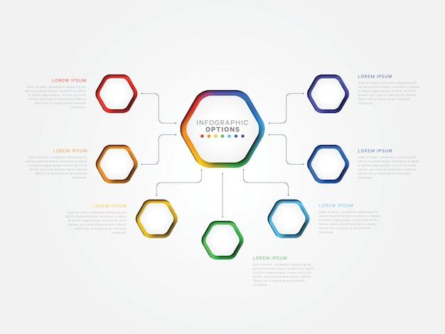 Zeven stappen 3d infographic sjabloon met zeshoekige elementen. bedrijfsprocesjabloon met opties Premium Vector