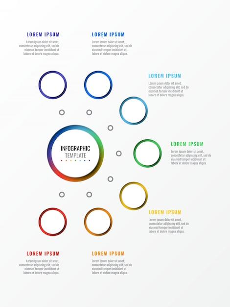 Zeven stappen ontwerp lay-out infographic sjabloon met ronde 3d-realistische elementen. proces diagram Premium Vector